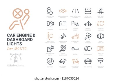 Car Engine and Dashboard Lights icon set