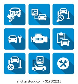 Car Engine Diagnostics Vector Icons