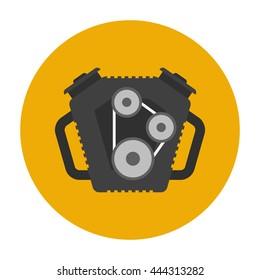 Car engine flat icon