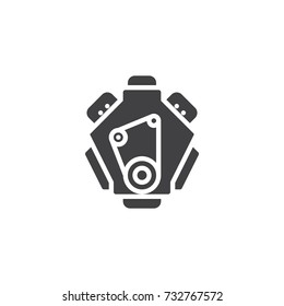 Car engine icon vector, filled flat sign, solid pictogram isolated on white. Symbol, logo illustration.