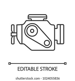 Car engine linear icon. Thin line illustration. Motor. Contour symbol. Vector isolated outline drawing. Editable stroke