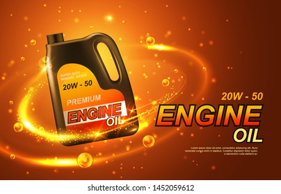 Car engine oil, automobile motor lubricant poster. Vector premium engine oil advertisement with golden splash and sparkling drops around 3d canister bottle of synthetic or mineral engine oil