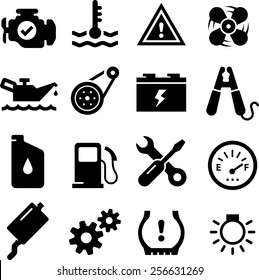 Car engine parts icons
