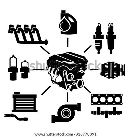 Car Engine Parts Icons Stock Vector Royalty Free 318770891
