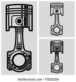 Car engine piston. Vector illustration.