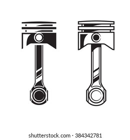 Car engine piston. Vector set isolated. Two variants.Color print on a white background.