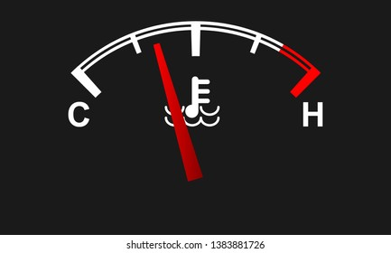 Car engine temperature gauge. Hot and cold symbols. Vector illustration.