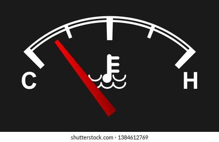 Car engine temperature gauge. Hot and cold symbols. Vector illustration.