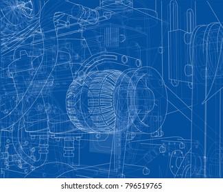 car engine  vector eps10 format, rendering of 3d