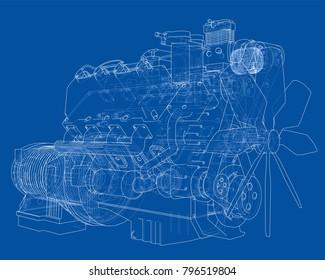 Car engine. Vector EPS10 format, rendering of 3d