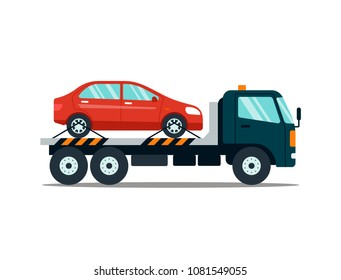 Car evacuating broken or damaged auto isolated on white background. Evacuator carrying car to the parking lot. Repair service vector illustration.