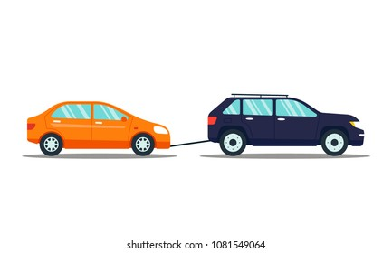 Car evacuating broken or damaged auto isolated on white background. Automobile carrying car to the parking lot. Repair service vector illustration