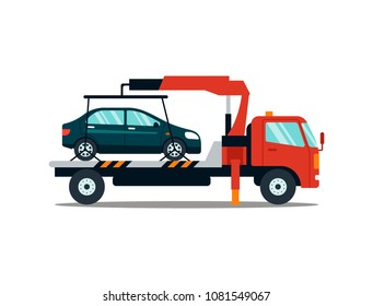 Car evacuating broken or damaged auto isolated on white background. Evacuator carrying car to the parking lot. Repair service vector illustration