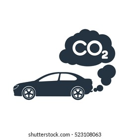 car exhaust, co2, smoke, isolated icon on white background, auto service, car repair
