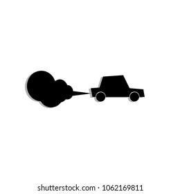 Car exhaust and emission, co2 concept, air pollution, vector illustration