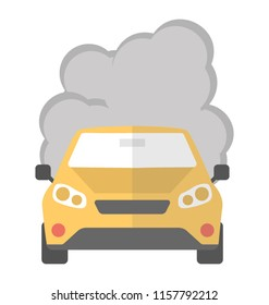 Car with exhaust smoke clouds isolated, automobile pollution icon concept