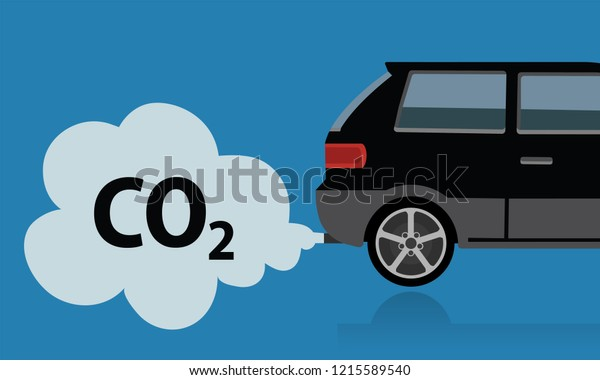Car Exhaust Smoke Co2 Emission Stock Vector Royalty Free 1215589540