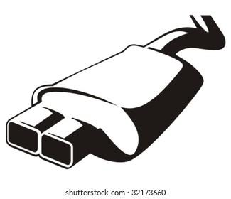Car exhaust. Vector illustration.