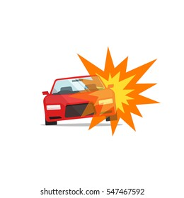 Car explosion vector illustration isolated, concept of automobile disaster, auto fire accident, damaged vehicle, terrorism crime