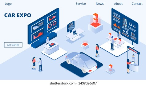 Car Expo Horizontal Banner. People walking near huge screen. Advertising products, auto stands or services at exhibition. 3D isometric vector concept for landing page, flyer, app.