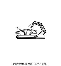 Car factory conveyor with robotic arm hand drawn outline doodle icon. Car industry automatization concept vector sketch illustration for print, web, mobile, infographics isolated on white background.