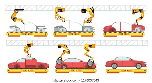 Car factory. Robotic automotive assembly line with automobiles. Conveyor for car assembly vector manufacturing concept. Car conveyor assembly, factory automotive production illustration
