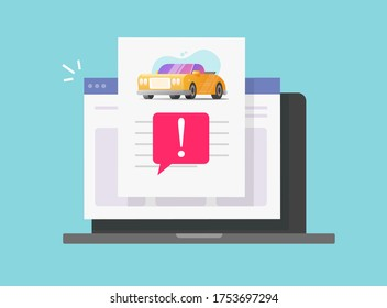 Car fake risk history online description report with warning vehicle computer access or pc laptop internet website automobile instruction info document page, important caution notice message vector