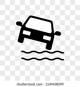Car Falling Into the Water vector icon on transparent background, Car Falling Into the Water icon