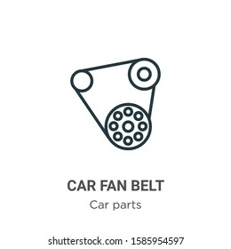 Car fan belt outline vector icon. Thin line black car fan belt icon, flat vector simple element illustration from editable car parts concept isolated on white background