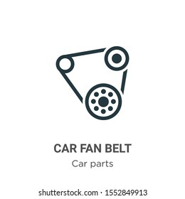 Car fan belt vector icon on white background. Flat vector car fan belt icon symbol sign from modern car parts collection for mobile concept and web apps design.