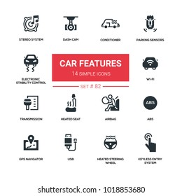Car features - line design silhouette icons set. Conditioner, parking sensors, electronic stability control, stereo system, dash cam, wi-fi, transmission, heated seat, airbag, abs, gps navigator