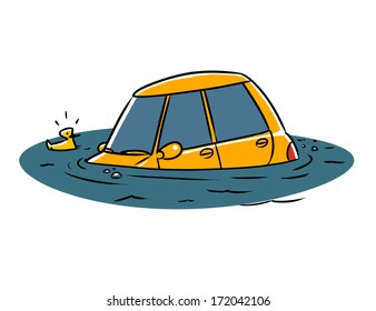 Car fell into a water