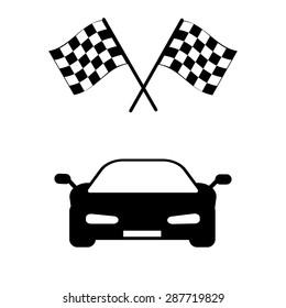 car and finishing flag
