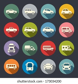 Car flat icon set