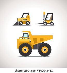 Car Flat Icon Set with Construction Equipment: Dump Truck, Forklift and Skid Steer Loader