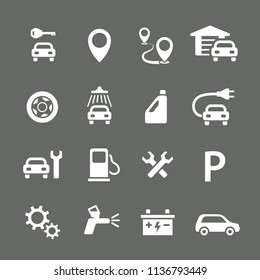 car flat icon transportation car repair auto petroleum fuel car wash wrench wheel white road spray drive accumulator battery absorber stop sign auto painting wrench gear wheel fix repair electric car