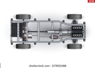 Car Frame Chassis. Vehicle frame with engine and Transmission. Wheels and exhaust pipe on automobile chassis. Concept of under body car. Vector Illustration isolated on white background.