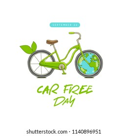 Car free day concept. Sepember 22. Cool bicycle and Earth. Vector illustration on a white background.