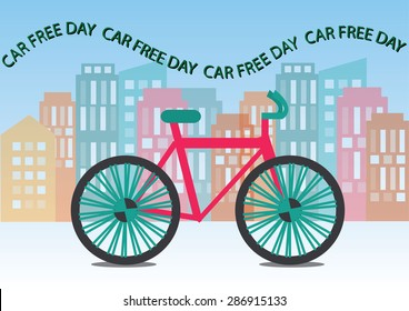 car free day concept. vector illustration