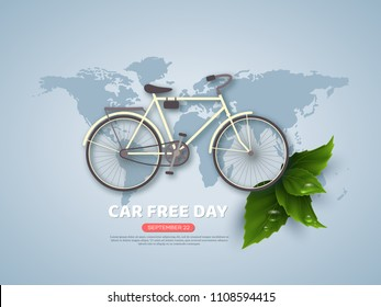 Car free day holiday banner or poster. Paper cut style bicycle, realistic leaves with water drops. World map blue color background. Vector illustration.