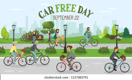 Car Free Day. People riding bike in the city and lettering 'Car Free Day. September 22'. Vector illustration.