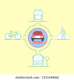 Car free day support use of mass transit, cycling and walking. Vector illustration outline flat design style.