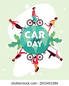 car free day template with people