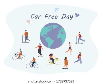 Car Free Day.Day Without a Car.Bicycle and Earth.Sepember 22. World Environment Eay.Ecological Clean Earth.People Walking or Riding Bicycle or Scooter.Birds on Background.Flat Vector Illustration