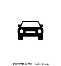Car front glyph icon. Simple solid style sign symbol. Auto, view, sport, race, transport concept. Vector illustration isolated on white background. EPS 10.