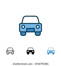 Car front icon in different style. Colored and black color car front view vector icons designed in filled outline, line, glyph and solid style. Vector illustration isolated on white background. EPS 10