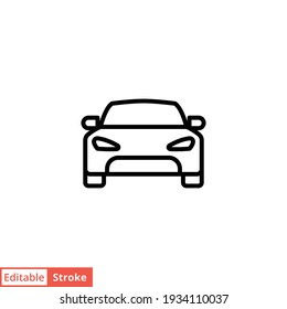 Car front line icon. Simple outline style sign symbol. Auto, view, sport, race, transport concept. Vector illustration isolated on white background. Editable stroke EPS 10.