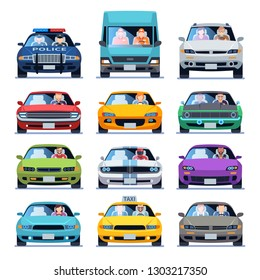 Car front view. Auto automotive people man woman child family urban drivers traffic vehicles driving cars set flat vector set