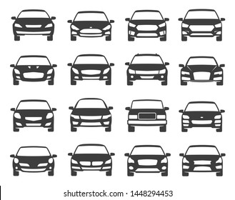 Car front view black icon set, transportation. Vehicle vector flat style cartoon illustration isolated on white background. Car silhouettes face.
