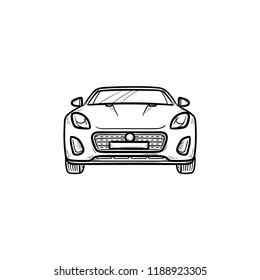 Car front view hand drawn outline doodle icon. Automobile and speed vehicle, drive and travel, road concept. Vector sketch illustration for print, web, mobile and infographics on white background.